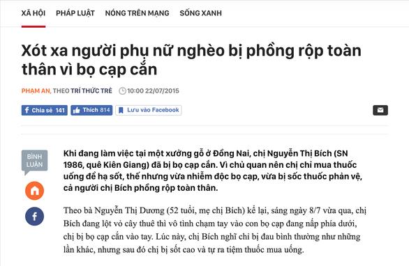 Tin giả: Bị thương nặng do bọ cạp cắn ở Việt Nam thành bị bạo hành ở Trung Đông