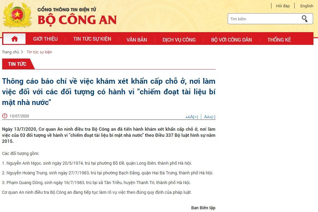 Khám xét chỗ ở, nơi làm việc thành viên tổ thư ký, tài xế chủ tịch Hà Nội (Website Bộ Công An)