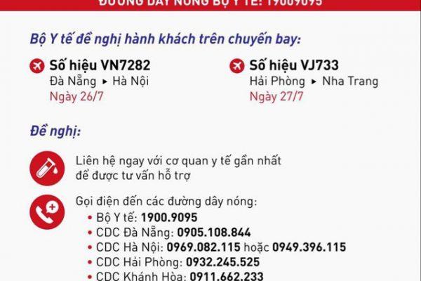 Thông báo khẩn về 2 chuyến bay đến Hà Nội, Nha Trang có ca mắc Covid-19